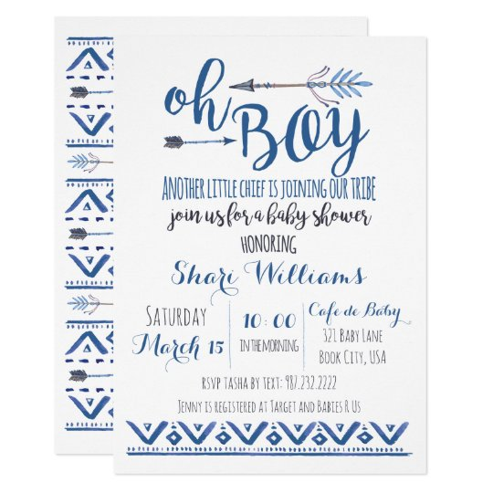 Oh Boy Tribal Baby Shower Invitation Zazzlecom