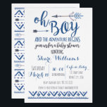 "Oh Boy Tribal Baby Shower Invitation -CUSTOM<br><div class=""desc"">Cute modern watercolor tribal themed boy baby shower invitation.</div>"