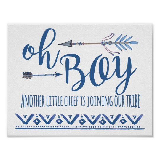 Oh Boy Tribal Baby Shower Sign Zazzle