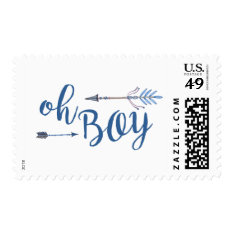 Oh Boy Tribal Baby Shower Stamp at Zazzle