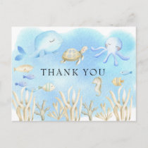 Oh Boy Under the Sea Girls Baby Shower Thank You Postcard