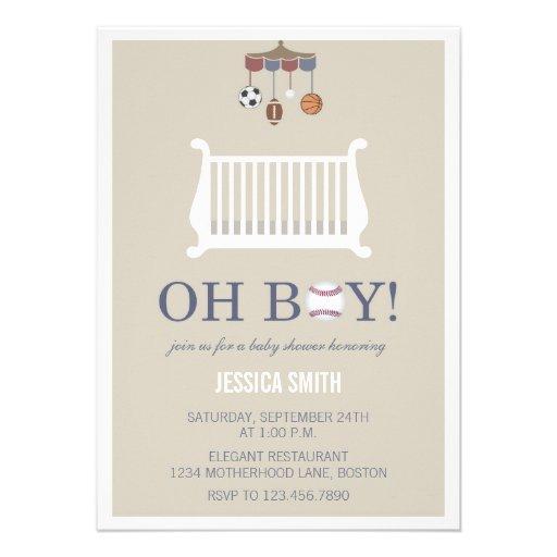 Oh Boy Vintage Baby Shower Invitations | Sports