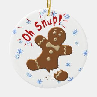 Oh broche adorno navideño redondo de cerámica