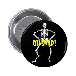 Oh broche, Halloween esquelético divertido Pin Redondo 5 Cm