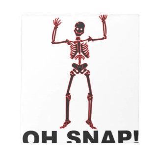 Oh broche, Halloween esquelético divertido Shirts. Bloc De Notas