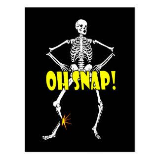 Oh broche Halloween esquelético divertido Tarjetas Postales