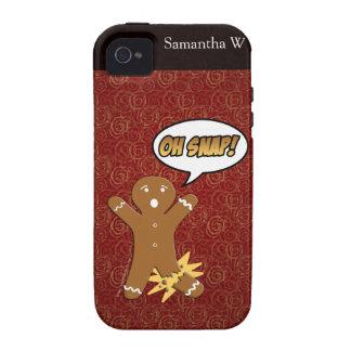 ¡Oh broche! Hombre de pan de jengibre divertido iPhone 4 Funda