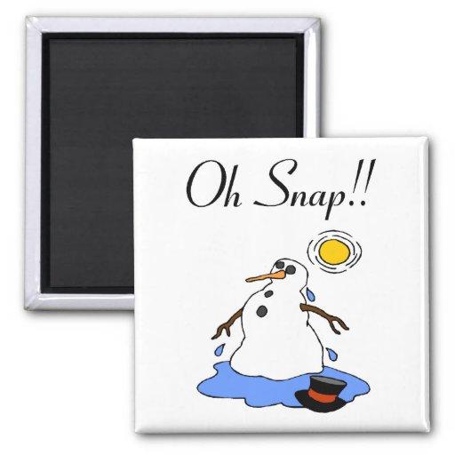¡Oh broche! (Muñeco de nieve de fusión) Imán Para Frigorifico