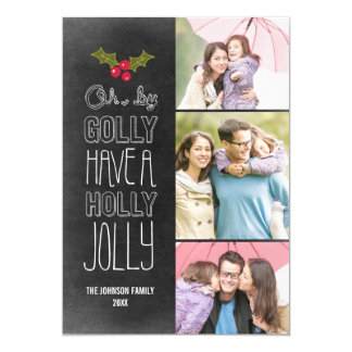 """Oh By Golly Holiday Photo Card 5"""" X 7"""" Invitation Card"""