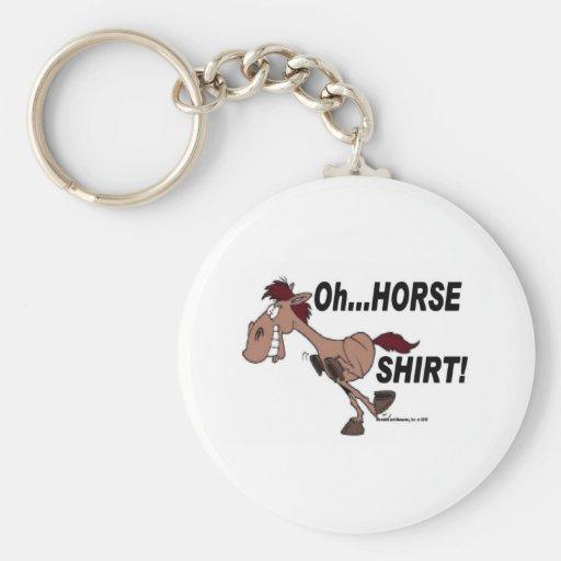 Oh camisa del caballo llavero redondo tipo pin