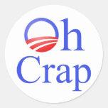 Oh camisetas y regalos de anti-Obama de la mierda Pegatina Redonda
