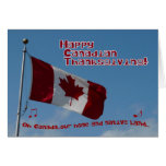 Oh Canada-happy thanksgiving-flag Card