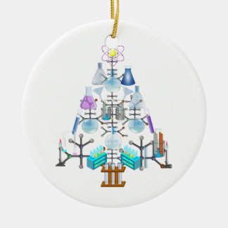Oh Chemistry, Oh Chemist Tree Double-Sided Ceramic Round Christmas Ornament