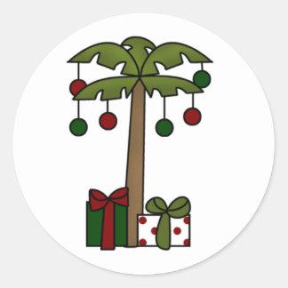 Oh Christmas Palm Tree Classic Round Sticker