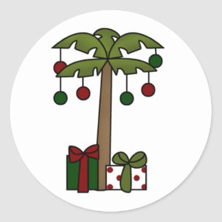 Oh Christmas Palm Tree Round Sticker