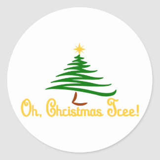 Oh, Christmas Tree Classic Round Sticker