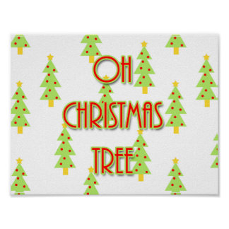 oh christmas tree mid century design retro poster