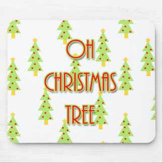 oh christmas tree mid century modern green red mouse pad