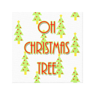oh christmas tree mid century modern red green canvas print