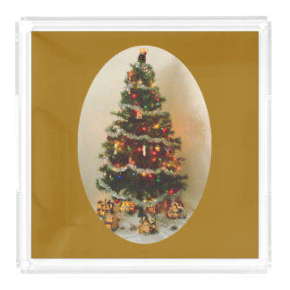 Oh, Christmas Tree on Gold Large Vanity Tray Square Serving Trays