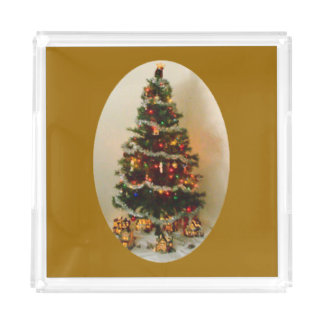 Oh, Christmas Tree on Gold Medium Vanity Tray Square Serving Trays