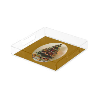 Oh, Christmas Tree on Gold Small Vanity Tray Square Serving Trays