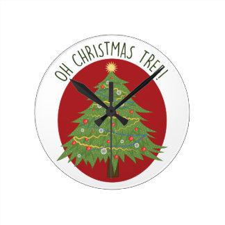 Oh Christmas Tree Round Clock