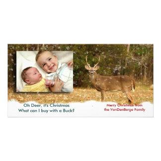 Oh ciervos él tarjeta de la foto del navidad tarjetas personales