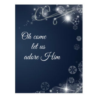 Oh Come Let us Adore Him Christian Christmas Postcard