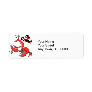 oh crabs funny crab pinching tongue label