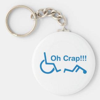 oh crap basic round button keychain