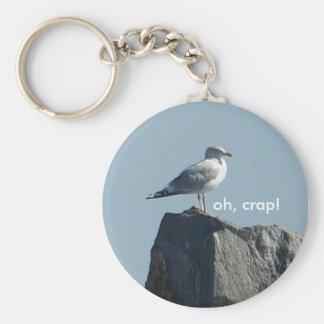 oh, crap! basic round button keychain