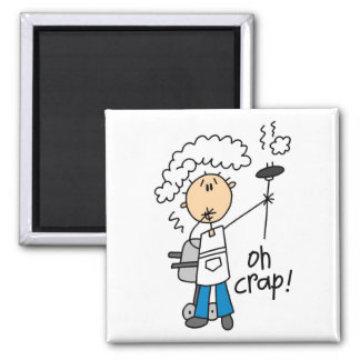 Oh Crap Funny Barbecue Gift 2 Inch Square Magnet