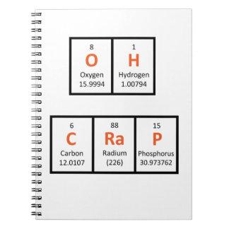 Oh cuaderno de la tabla periódica de la mierda