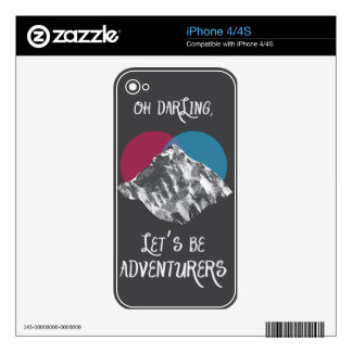 Oh Darling Let's Be Adventurers iPhone 4 Decal