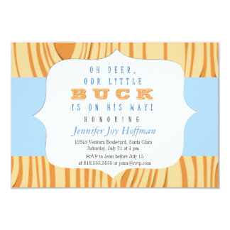 """Oh Deer, A Little Buck Is On His Way! Camo Invite 3.5"""" X 5"""" Invitation Card"""