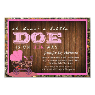 """Oh Deer, A Little Doe Is On Her Way! Camo Invite 3.5"""" X 5"""" Invitation Card"""