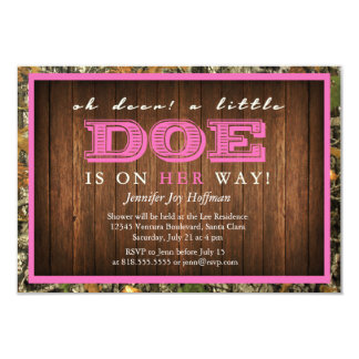 "Oh Deer, A Little Doe Is On Her Way! Camo Invite 3.5"" X 5"" Invitation Card"