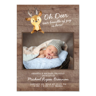 Oh Deer Baby Boys Photo Birth Announcement