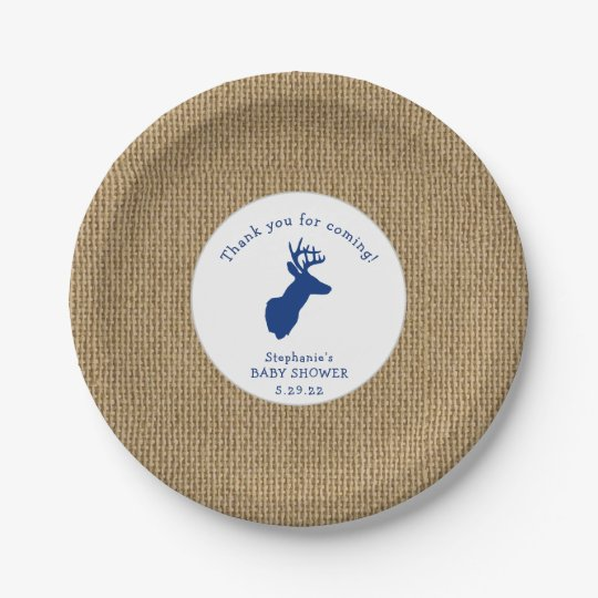 Oh Deer Baby Shower Decor Burlap Navy Paper Plate Zazzle