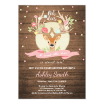 Oh Deer baby shower invite Woodland Antler Wood