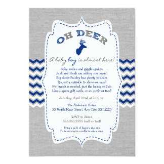 Oh Deer Buck Baby Sprinkle navy grey white Card