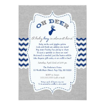 Toddler & Baby themed Oh Deer Buck Baby Sprinkle navy grey white Card