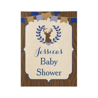 Oh Deer Buck Blue Boy Baby Shower Wood Sign
