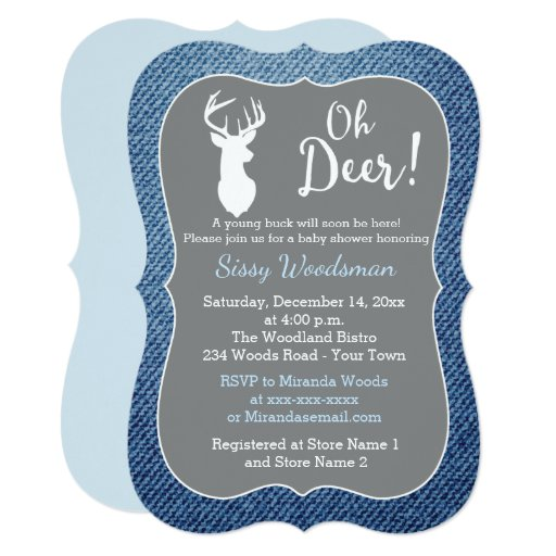 Oh Deer Buck Gray and Denim Boy Baby Shower Card
