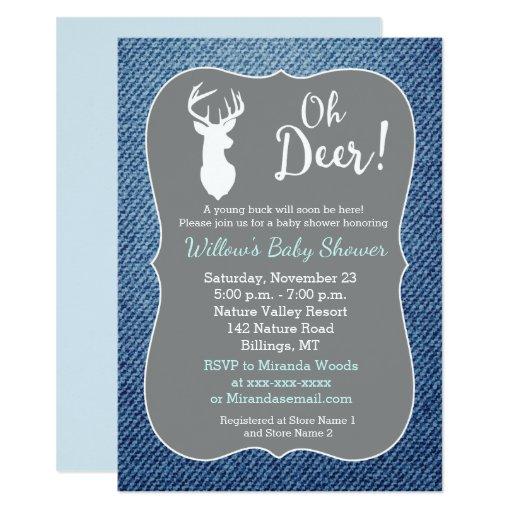 Oh Deer Buck White Deer Hunter Baby Shower Invite