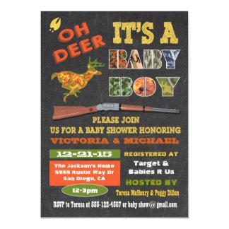 Oh Deer Chalkboard Camo Baby Shower Invitation