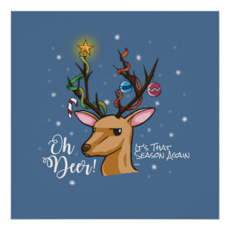 """Oh Deer"" Christmas Decoration Illustration"
