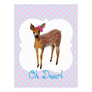 """Oh Deer"" fawn Postcard"