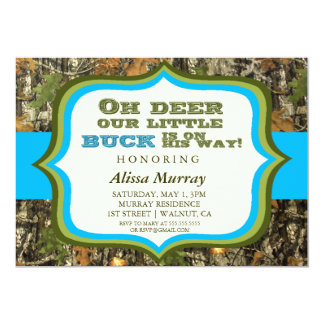 """Oh Deer Our Little Buck Is On His Way Baby Shower 5"""" X 7"""" Invitation Card"""